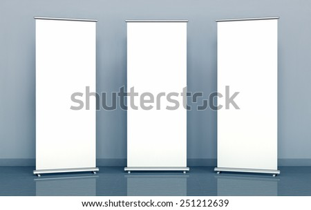 Blank roll-up banners - stock photo