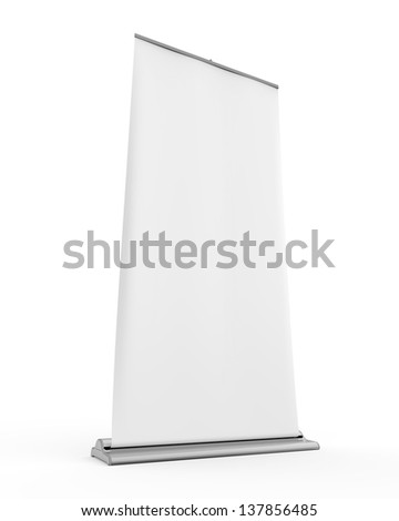 Blank Roll Up Display Banner - stock photo