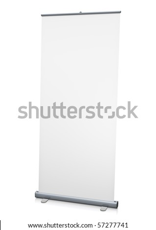 Blank 'roll-up' display. 3D rendered image. - stock photo