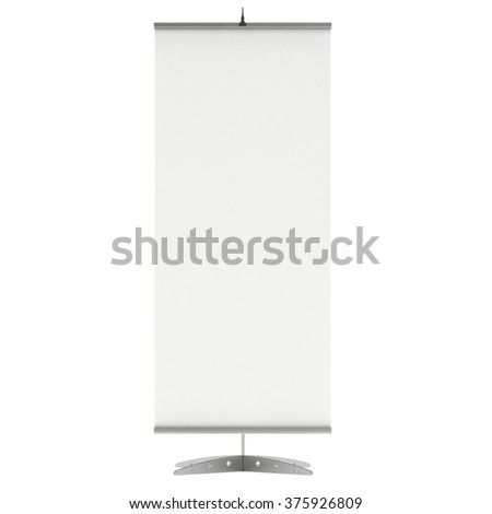 Blank Roll Up Expo Banner Stand. Trade show booth white and blank. 3d render illustration isolated on white background. Template mockup for your expo design. - stock photo