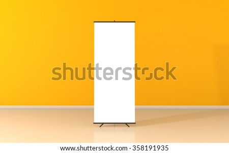 Blank roll up poster - vertical billboard for text on yellow background - stock photo