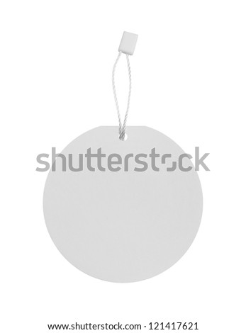 Blank round price tag - stock photo