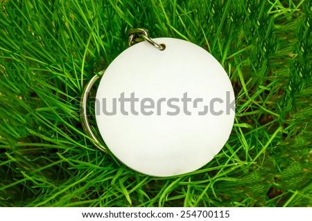 Blank round white badge in green grass - stock photo