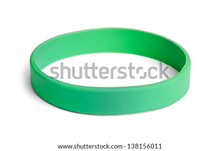 Blank rubber plastic stretch green bracelet isolated on white background. - stock photo