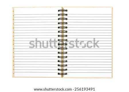Blank Ruled Spiral Bound Journal Isolated On White Background