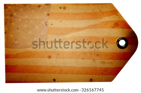 Blank rustic American flag beige gift tag isolated on a white background with clipping path - stock photo