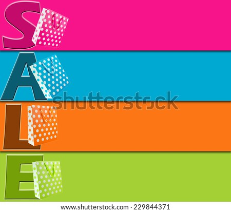 Blank sale tag or banner with various colors - stock photo