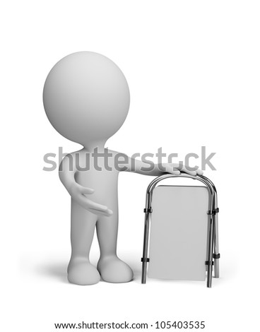 Blank sandwich board. 3d person. 3d image. Isolated white background. - stock photo