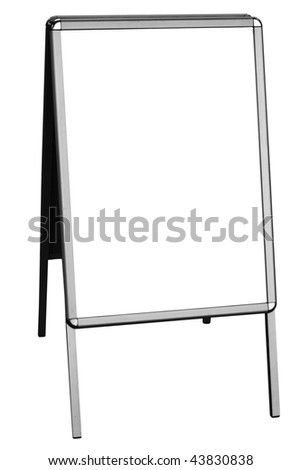 blank sandwich board, isolated on white background, free copy space - stock photo