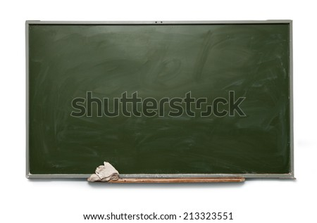 Blank school blackboard on white - stock photo