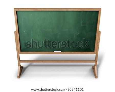 Blank school chalkboard (3d illustration) - stock photo