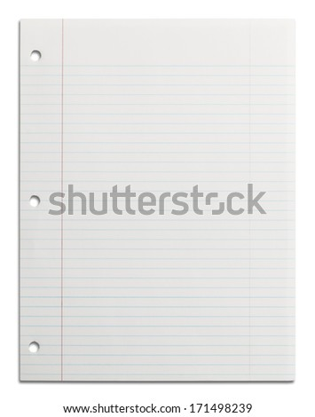 Blank School Line Paper with Copy Space Isolated on White Background. - stock photo