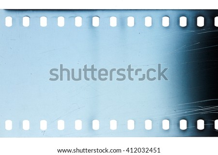 Blank scratched noisy blue  filmstrip isolated on white background