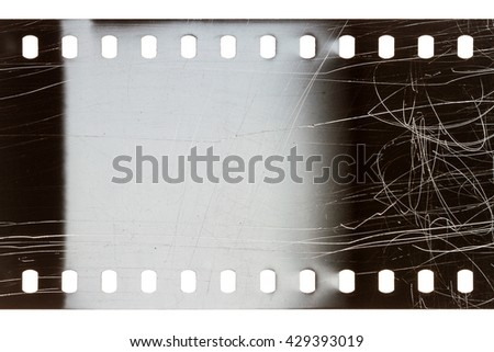 Blank scratched noisy gray filmstrip isolated on white background - stock photo