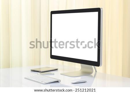 Blank screen computer moniter - stock photo