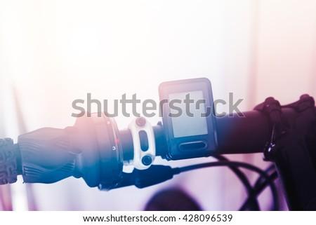 Blank screen Digital Odometer, speedometer or tachometer machine on bike handles, Bike for sport or recreation, lifestyle - stock photo