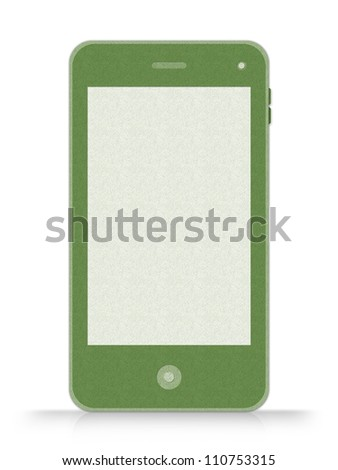 Blank Screen Green Mobile Phone Made From Recycle Paper Isolate on White Background - stock photo