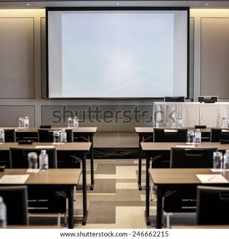 Blank screen in meeting room - stock photo