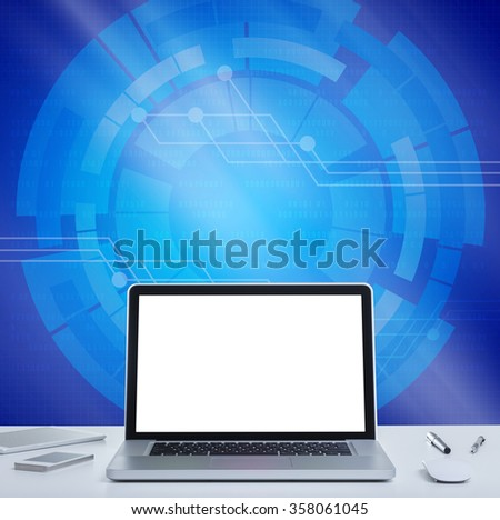 Blank screen laptop computer with blue digital graphics background