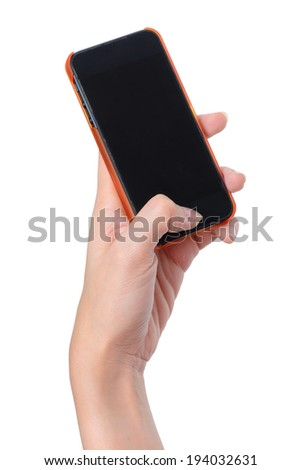 blank screen mobile phone in woman hand - stock photo