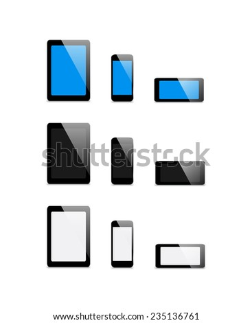 Blank screen on a smart-phone, tablet PC and phone - stock photo