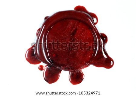 Blank sealing wax seal on white background