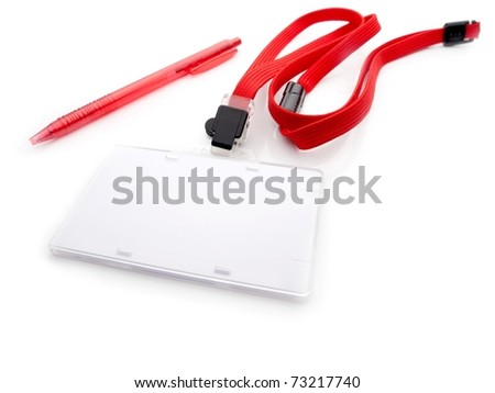 Blank security or ID card with red strap and pen, isolated on white. For adding your message or corporate information. - stock photo