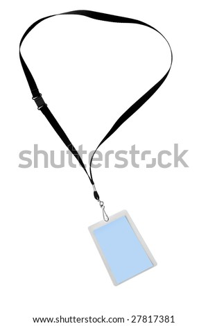 Blank security tag or identification pass, on a lanyard, isolated on white. - stock photo
