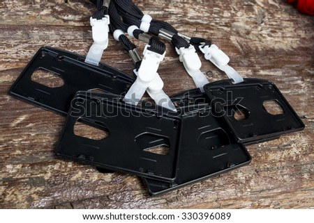 Blank Security Tag with Black Neck Band  - stock photo