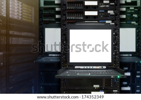 Blank server computer screen in modern interior data Center, server room - stock photo