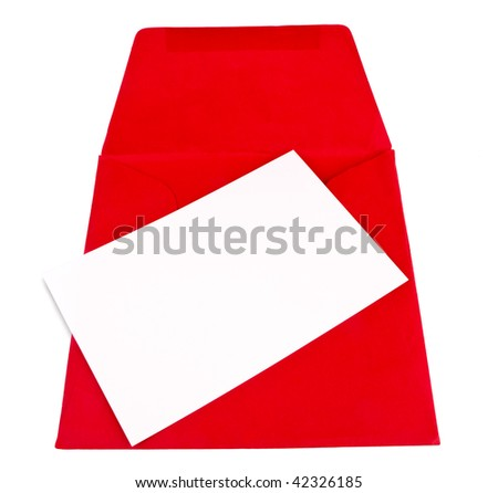 Blank sheet for text writing on a red envelope isolated against a white background