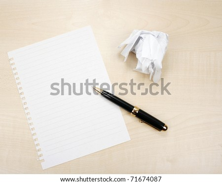 Blank sheet of paper and crumpled paper - stock photo