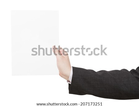 blank sheet of paper in coach hand isolated on white background - stock photo