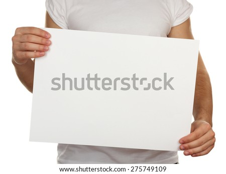 Blank sheet of paper in male hands isolated on white - stock photo