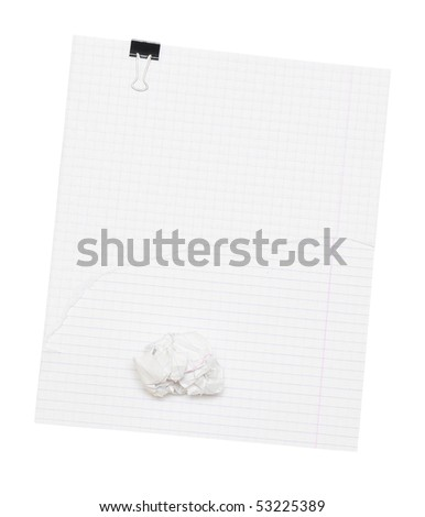 Blank sheet of paper with clip and crumpled paper wads - stock photo