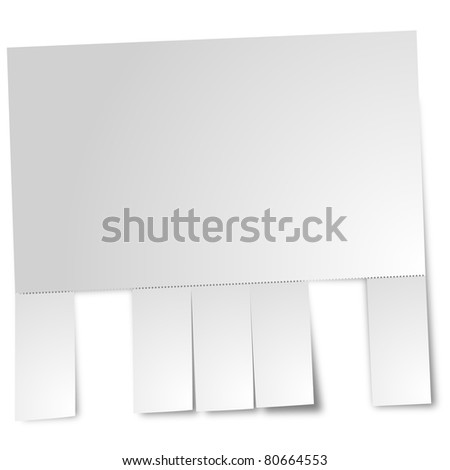 blank sheet of paper with perforation and torn out sheets - stock photo