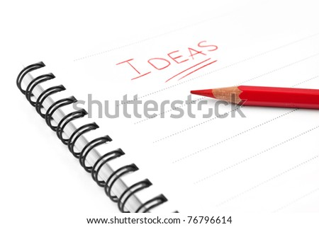 Blank sheet of paper, word Ideas and red pencil - concept business background - stock photo