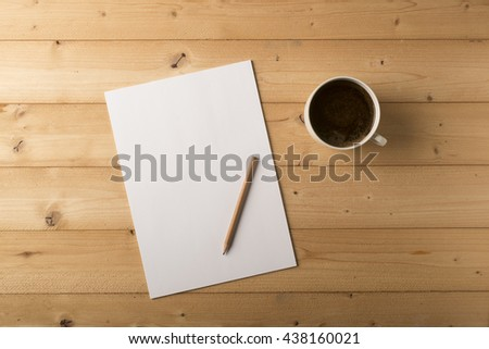 blank sheet with pencil and cup of coffee  - stock photo