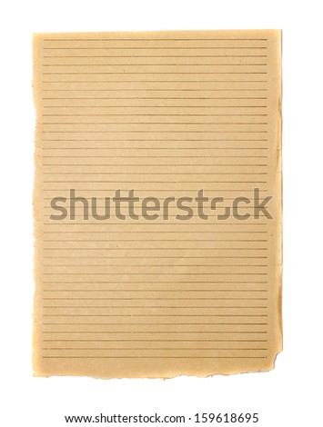 blank sheets of old book paper isolated on white with clipping path