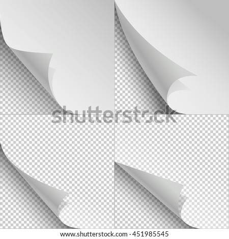 Blank sheets of paper with page curl and shadows - stock photo
