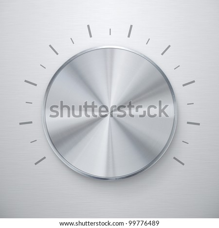Blank shiny silver volume knob over brushed metal background - stock photo