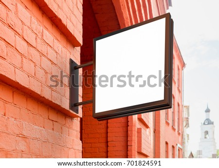 Vintage Empty Outdoor Business Signage Mock Stock Photo