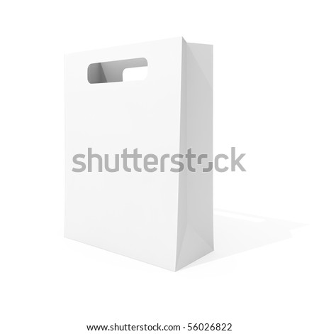 Blank shopping bag isolated on white background - stock photo