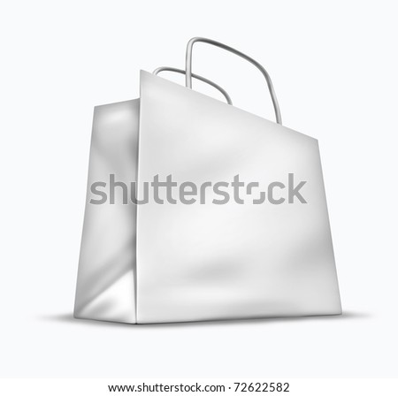 Blank shopping bag symbol isolated on white representing the concept of retail consumers and shoppers looking for bargains and low prices at the mall department stores. - stock photo