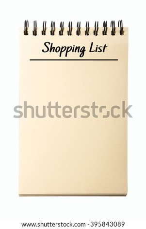 Blank Shopping List notebook isolated on white background. - stock photo