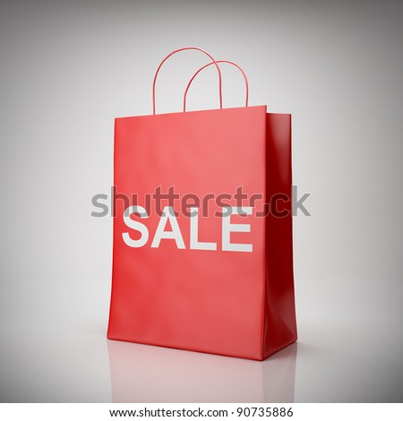 Blank shopping red bag for sale - stock photo