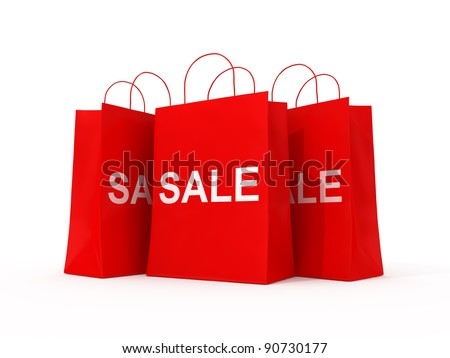 Blank shopping red bags for sale - stock photo
