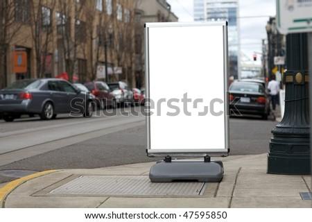 Blank sidewalk advertisement sign - stock photo