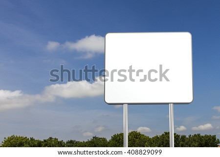 Blank sign against sky and clouds