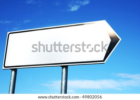blank sign and sky with clouds